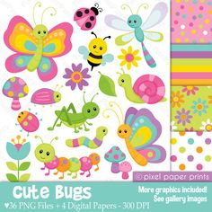 Cute bugs Clipart and Digital Paper Set by pixelpaperprints