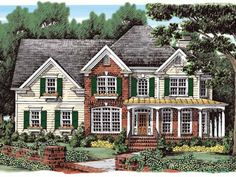 Country Style 2 story 4 bedrooms(s) House Plan with 2766 total square feet and 2 Full Bathroom(s) from Dream Home Source House Plans, 60 foot wide, 2 story family room