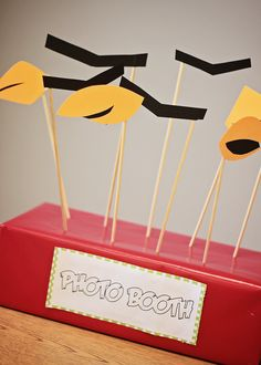 Angry Birds Party Ideas - Love the photo booth props!