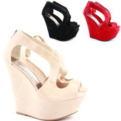 06c878f55741d0 Womens Platform High Heel Strappy Wedges Peeptoe Party Wedge Sandals Shoes  Size  POPShoes  PlatformsWedges
