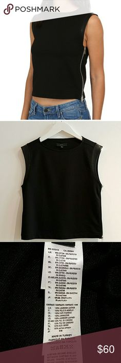 *NWT* DIESEL Women's Leather-Accent tank-top Designer, 100% lambskin leather-lined cap sleeve // side zipper detail // 60% off retail price // Brand New, Never Worn // No imperfections // Pair this chic top with denim and sneakers or some leather pants and heels on a night out with your girls!!!  *Pet-Free Home *Smoke-Free Home Diesel Tops Tank Tops