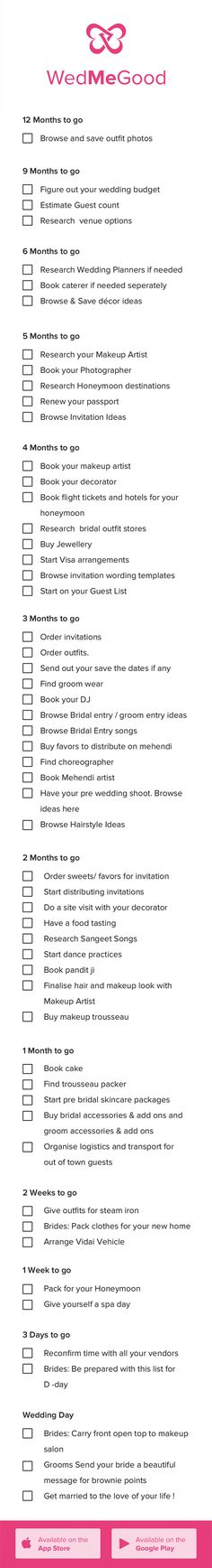 Indian Wedding Checklist . WedMeGood Checklist - Things to Do 1 Year Checklist for a Bride to Be | WedMeGood | #bride2be #checklist #indianwedding #indianbride #bride #wedmegood