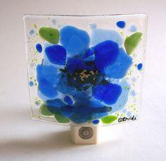 Fused+Glass+Flower+Night+Light+Blue+by+CDChilds+on+Etsy,+$26.00