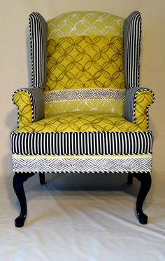 Up-cycled Wingback Chair with Designers Guild fabric in chartreuse yellow, black, and white cotton