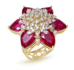 Ruby and diamond cocktail ring by Mahesh Notandas jewellery