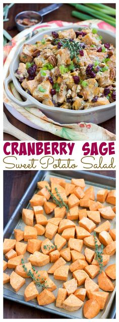 Creamy cashew cream sweet potato salad with Ocean Spray® Craisins® Dried Cranberries, pecans, and sage. A healthy side dish that you can enjoy all season long! Dairy-free, gluten-free, vegan.