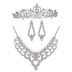 Bella-Vogue Rhinestone Crystal Statement Bridal Necklace   Earrings   Crown Jewelry Sets-NO.159 -- Find out more about the great product at the image link.