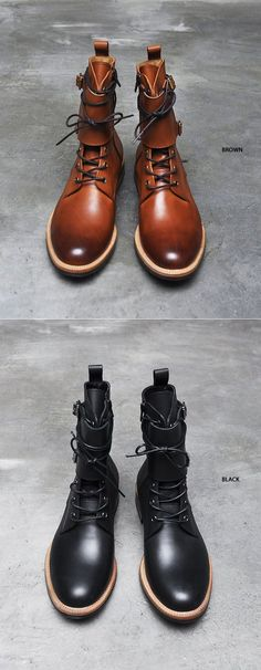 Shoes :: Double Buckle Strap Vanish Kipskin Boots