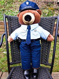 """Rare Patriot Bear Teddy Bear Plush 20"""" Policeman Pistol Expert JJ Wind 1994 VTG by coveteur on Etsy"""