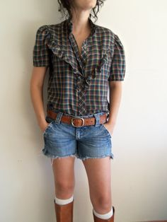 Vintage Western/Boho/Hippie Plaid Button Up by FunkyOldSoul, $17.00