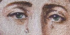 """Artist - Zhanna Plaksina.  """"Sorrows Virgen""""  fragment.  The 3D tear-drop effect. Tears of the Virgin look like  real. But it's an optical illusion. It is not """"real drops"""" - it is embroidery. Size of tears is 3 mm!"""