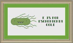 E is for E. coli: nerdy bacteria alphabet by nerdylittlestitcher