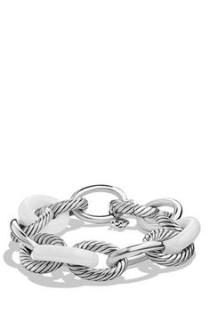 Women's David Yurman 'Oval' Extra-Large Ceramic Link Bracelet - Ceramic White