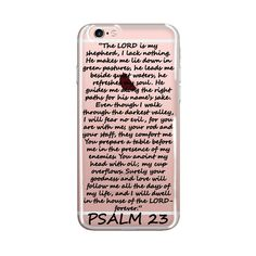 PSALM 23, The Lord is my Shepherd, Clear Transparent Phone Case, Bible Scripture, Flower Design, Christian Quote, iPhone Case Bible Verse,  Inspirational iPhone case, Inspirational words, Inspirational quote
