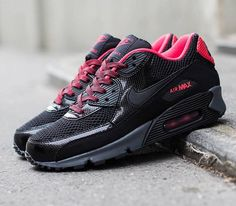 Nike WMNS Air Max 90 – Black / Black – Fusion Red – Anthracite