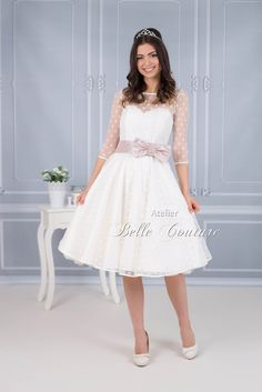Atelier Belle Couture Brautkleid Jolina mit Punktetüll 2017 U-Boot Tüll Kleidergröße DE 32 id5263