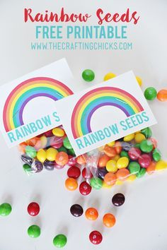 Rainbow Seeds Free Printable - Such a fun activity for St. patricks day party leprechaun Rainbow Seeds Free Printable - The Crafting Chicks Fiesta Little Pony, My Little Pony Party, Rainbow Seeds Free Printable, Rainbow Unicorn Party, Rainbow Baby, Rainbow Socks, Rainbow Theme, Rainbow Games, Rainbow Food