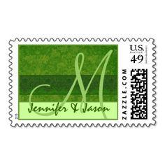 Bride and Groom Monogram Olive Green Damask Postage Stamp  #jaclinart #wedding #stamp #postage #monogram #color #olivegreen