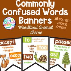 26 Commonly Confused Words Colored in Print Posters Woodland Animal Theme Lose Loose, Commonly Confused Words, Woodland Animals Theme, Poster Prints, Posters, Past Tense, Poster Colour, Prepositions, Cursive