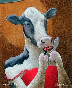 'Will Bullas / art print / cattle hustler. / humor / animals' Art Print by Will Bullas Cow Painting, Fabric Painting, Cow Art, Animal Paintings, Cattle, Pet Portraits, Canvas Art, Artsy, Art Prints