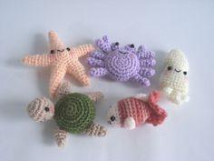 Mini Ocean Friends PDF crochet pattern by jaravee on Etsy