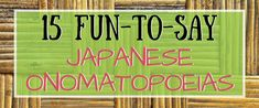 Japanese onomatopoeias and sound words list