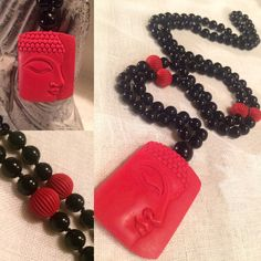 Cinnibar & Black Agate by MalasByTini Keep The Peace, Wealth Creation, Tough Love, Black Agate, Beadwork, Dog Tag Necklace, Buddha, Pouch, Beads