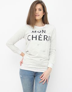 Mon Cheri, Warm Sweaters, Casual Looks, Jumper, Graphic Sweatshirt, Grey, Sweatshirts, Cute, Clothes