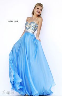 You shine bright in this stunning Sherri Hill 1942 gown with its sweetheart neckline and fitted beaded bodice. The chiffon skirt is ideal for dancing at prom, a winter formal, military ball or formal gala! You can't go wrong with the romantic look and exquisite beadwork!