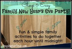 Cheap & Easy Family New Years Eve Party - hour by hour activities you can do together until midnight!  #frugalfamilyfun #frugalliving #newyearseveparty