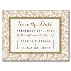 """Simple yet elegant, the modern paisley wedding collection is a stunning design featuring a lovely paisley print in a soft brown and white color, which is perfect for any modern wedding celebration. <br> <br> These save the date postcards can be personalized for your special occasion and would make the perfect announcements for your wedding, bridal shower, engagement party, birthday party and many more special occasions. <br> <br> Add your custom wording to this design by using the """"Edit this…"""