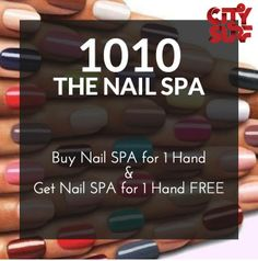 Get INKED..!! Buy NAIL SPA for 1 HAND & Get NAIL SPA for 1 HAND FREE @ 1010 The NAIL SPA, Delhi NCR..!!  The City Surf BOGO - Buy 1 Get 1 Free Offers Voucher Book, you get access to 500 Buy 1 Get 1 Free offers at over 200 best places in Delhi NCR including Spas & fitness centers, valid for an entire year!  So hurry book your copy of City Surf today at an inaugural discount of 15% (You pay only Rs 1274). Mail us now at: info@citysurf.in #discount #coupon