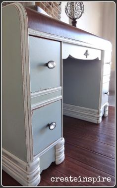 Aqua Blue Table ~ My Favorite Furniture Color Prodigal . Dumped And Discovered: Waterfall Vanity Makeover. Staining A Wooden 1942 Vanity Table Back To Life Back To . Home and Family Furniture Vanity, Refurbished Furniture, Repurposed Furniture, Furniture Makeover, Vintage Furniture, Painted Furniture, Furniture Refinishing, Chair Makeover, Waterfall Dresser