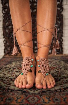 Yoga Barefoot Sandals -Crochet Foot accessory -Hippie Festival Wear Yoga Boho Anklet Feather jewelry Turquoise gemstones -Tassels Coins
