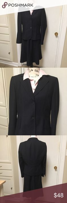 "CALVIN KLEIN Skirt Suit Pinstripes Calvin Klein Skirt Suit Pinstripes Flared Skirt Fully Lined❣️ Blazer with shoulder pads & 2 front buttons ❣️ BLAZER: Pit to pit 20""  Length 23"" ❣️ SKIRT: Waist 32""  Hip 40""  Length 23"" ❣️65% polyester 35% Rayon ❣️❤️️ Calvin Klein Skirts Skirt Sets"