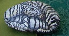 Original Hand Painted Stone Horse / Zebra / by MeloArtGallery, $85.00