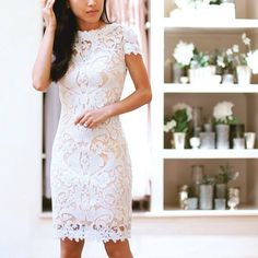 elegant, short white lace dress - love this for bridal activities (shower, bachelorette party, or wedding reception/dancing!)