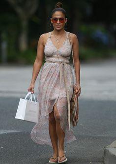 Jennifer Lopez's Hamptons Twelfth Street by Cynthia Vincent Leather Detail Printed Maxi Dress and Barbara Bonner Fringe Handbag