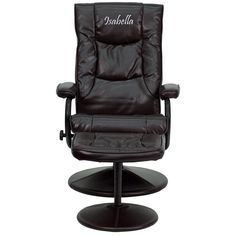 Personalized Brown Recliner BT-7862-BN-TXTEMB-GG