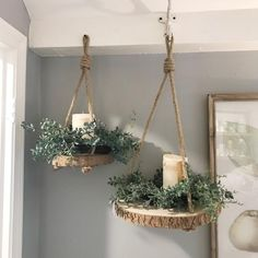 Set your mantel or table with these beautifully distressed metal candle holders. Painted in the perfect creamy white with a dark gray layer under the distressin Crafts Hanging Paulownia Wood Slices with Jute Rope Diy Wood Projects, Wood Crafts, Wood Slice Crafts, House Projects, Home Decor Accessories, Decorative Accessories, Handmade Home Decor, Diy Home Decor, Wood Home Decor