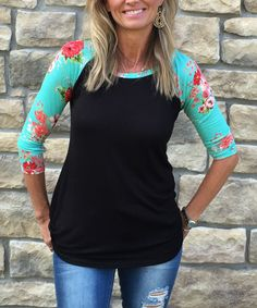 Look at this Luxe Couture Black & Mint Floral Raglan Tee - Women on #zulily today!
