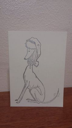 Hand Stamped Christmas Italian Greyhound Whippet by TempleHoundArt