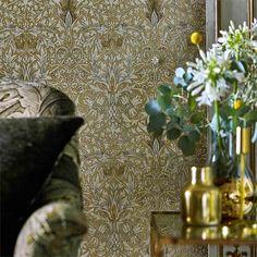 Snakeshead by Morris - Gold / Linen - Wallpaper : Wallpaper Direct Hall Wallpaper, Linen Wallpaper, Dining Room Wallpaper, Wallpaper Online, Print Wallpaper, Pattern Wallpaper, Cottage Wallpaper, William Morris, Craftsman Wallpaper