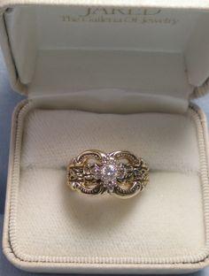1940's WWII Orange Blossom Diamond Eng/Wedding Ring Set 18K Sz 5.5  OOAK