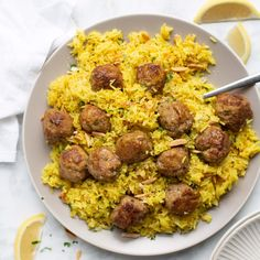 Healthy Recipes : Illustration Description Instant Pot Turkey Meatballs and Yellow Rice! Tender skillet meatballs cook together with a flavorful yellow rice. Quick, easy and sure to be an instant favorite! Crockpot Recipes, Chicken Recipes, Cooking Recipes, Healthy Recipes, Cooking Chef, Sausage Recipes, Cooking Ideas, Meatballs And Rice, Turkey Meatballs