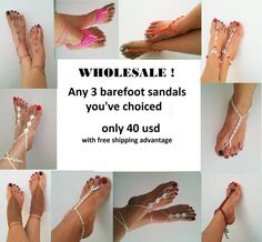 FREE SIPPING Wholesale any 3 barefoot sandals / anklet  of my shop only 40 usd ONLY  croch... $40