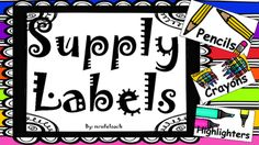 These supply labels will add a little more spice to your organized classroom. These labels include 19 labels.The labels are: pencilscolor pencilsmarkersskinny markerserasersglueglue sticksthumb tacksrulerscrayonspaper clipssticky notesbinderscomposition notebookspencil sharpenerspainttissueshighlighters