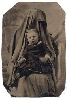 Mother and baby portrait - Victorian parents hiding in pictures to keep their babies still long enough for a portrait [20 pics]