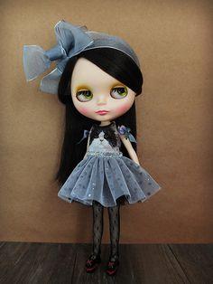 Blythe dress with sweet black kitty made to by JLuluLoveBlythe, $55.00