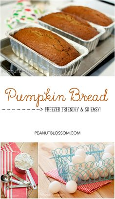 The BEST ever pumpkin bread recipe. So easy to make, bake once and you have three loaves for stocking your freezer or for sharing with friends. Makes an awesome lunchbox treat during fall with a little cream cheese on the side!